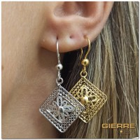 E3164 Flower rhombus earring