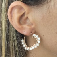 FC01 Boucle d'oreille hoops heart pearls